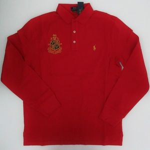 Long Sleeve Crested Mesh Polo Shirt Custom Fit NEW